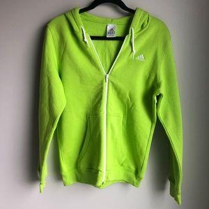 Adidas Small Green Zip Up Hooded Sweatershirt sz M